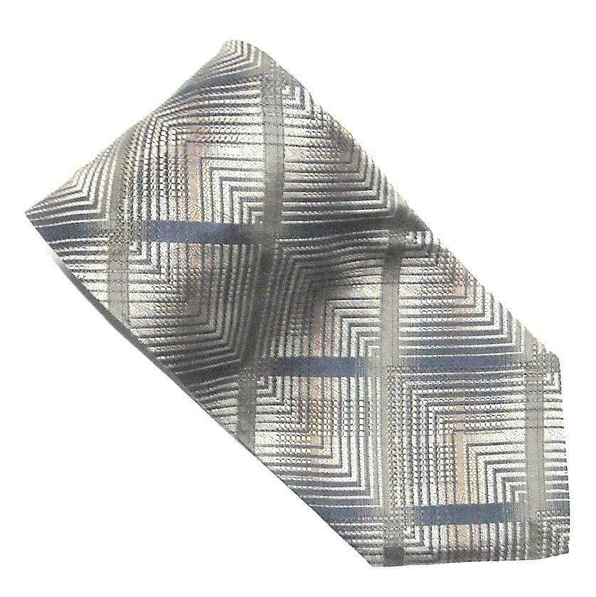 Bachrach Gold Beige Silver with Black Design mens 100% Silk necktie tie