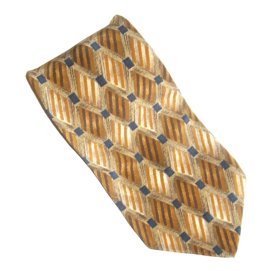 Zylos George Machado Beige Yellow with Black Design mens 100% Silk necktie tie