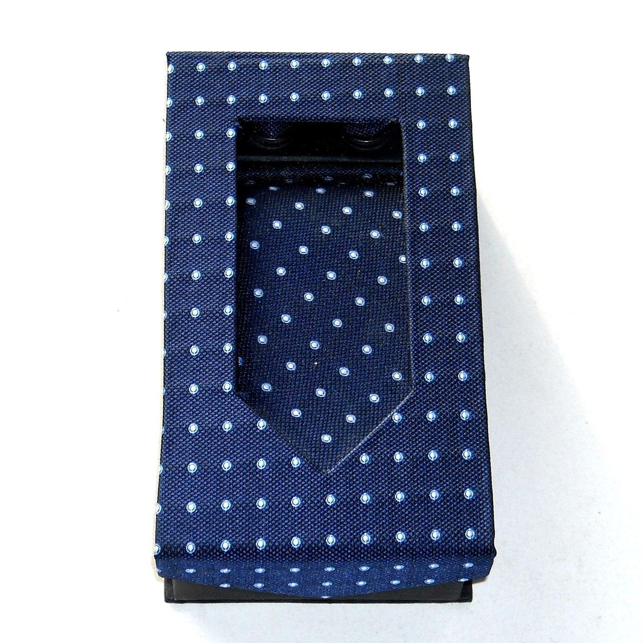 Blue White Dots Tie Handkerchief Cufflinks Boxed Gift Set