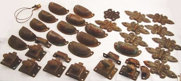 OLD LOT METAL LATCHES HINGES DRAWER PULLS