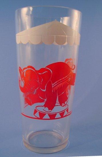 VINTAGE SWANKY SWIGS TALL JELLY GLASS CIRCUS ELEPHANTS 1950's