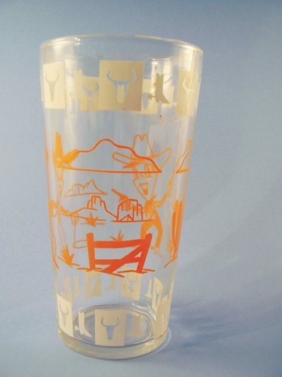VINTAGE SWANKY SWIGS TALL JELLY GLASS COWBOYS 1950's