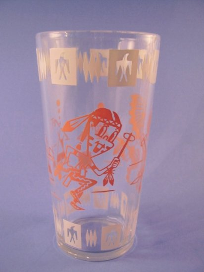 VINTAGE SWANKY SWIGS TALL JELLY GLASS INDIANS NATIVE AMERICANS 1950's