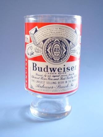HUGE BUDWEISER GLASS 9 IN TALL WITH LARGE RED GRAPHIC