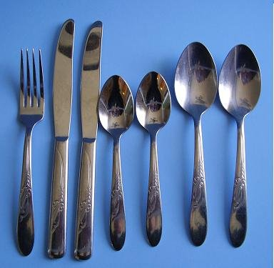 7 PIECES STAINLESS FLATWARE 1950'S HB Co HEATHER PATTERN