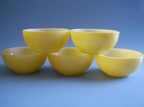 8 FK FIRE KING CEREAL BOWLS YELLOW 1950'S