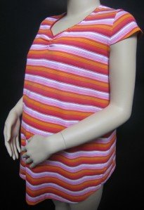 COLORFUL SUPER CUTE MULTI STRIPE MATERNITY SHIRT WITH V NECK & GATHERING MED