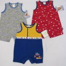 3 ADORABLE INFANT BOYS MULTI PRINT ROMPERS CARTERS & HEALTHTEX SIZE 3-6 MOS
