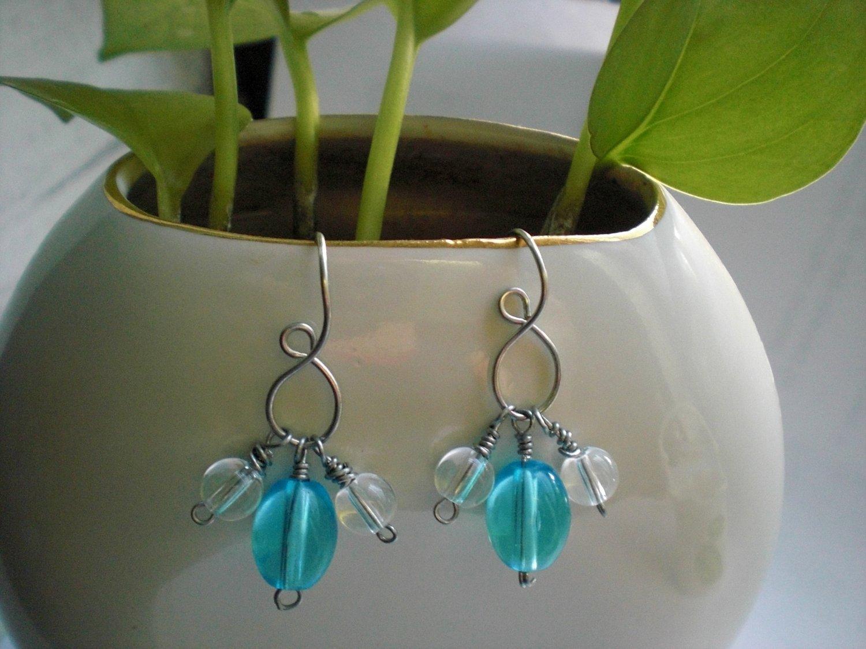 Handmade Blue Clear Glass Beads Earrings
