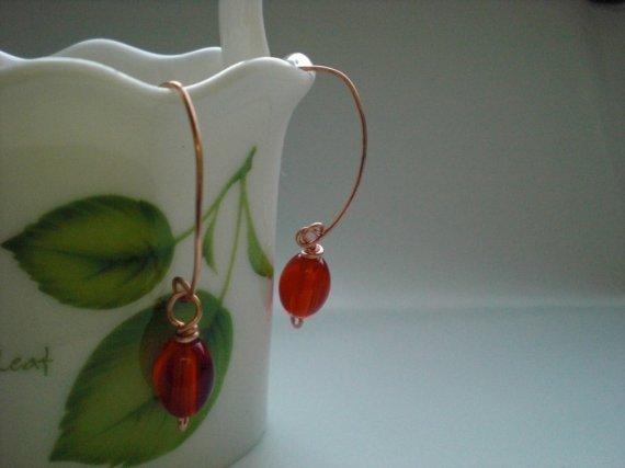 Handmade Lovely Red Glass Beads Dangle Earrings