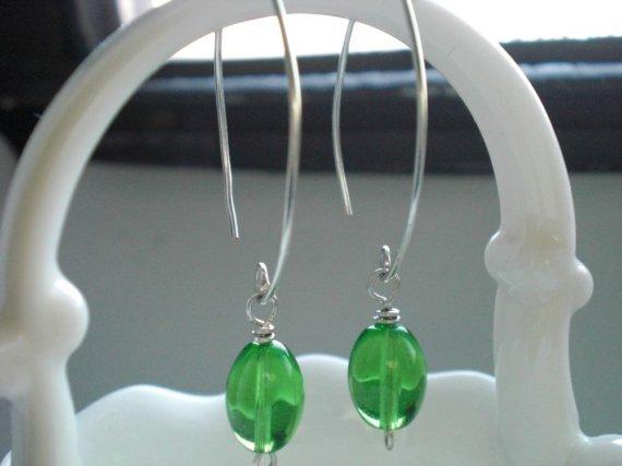 Handmade Awesome Green Glass Beads Dangle Earrings