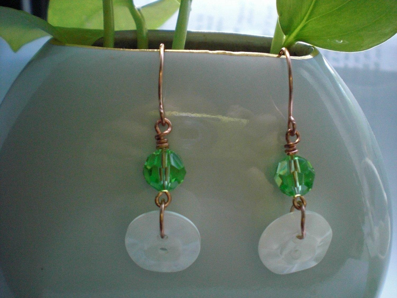 Handmade Green Swarovski Crystal Earrings Copper Tone Earwires