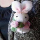 Super Mini and CuteHandmade Felt Bunny Brooch and Phone Charm