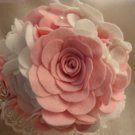 Pink and White Bridal Wedding Bouquet or Non-wedding Felt Bouquet