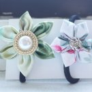 Green and Flowery Kanzashi Handmade Hairband