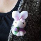 Super mini Purple handmade bunny pin/brooch
