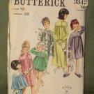Vintage 1960's Children's Sleepwear Sewing Pattern Butterick #3342