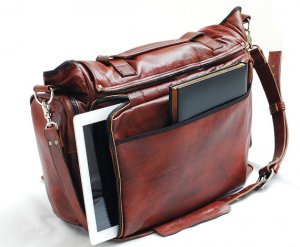 Handmade Leather messenger bag 22 inch cross body, leather Laptop bag in Tobacco