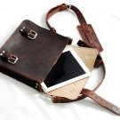 "Vintage inspired brown leather satchel pigskin lining 12.5"" unisex full grain for I pad"