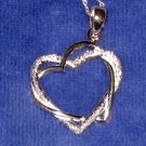 "18"" Sterling Necklace ~ Entwined Hearts - 1"" ~ Like New"