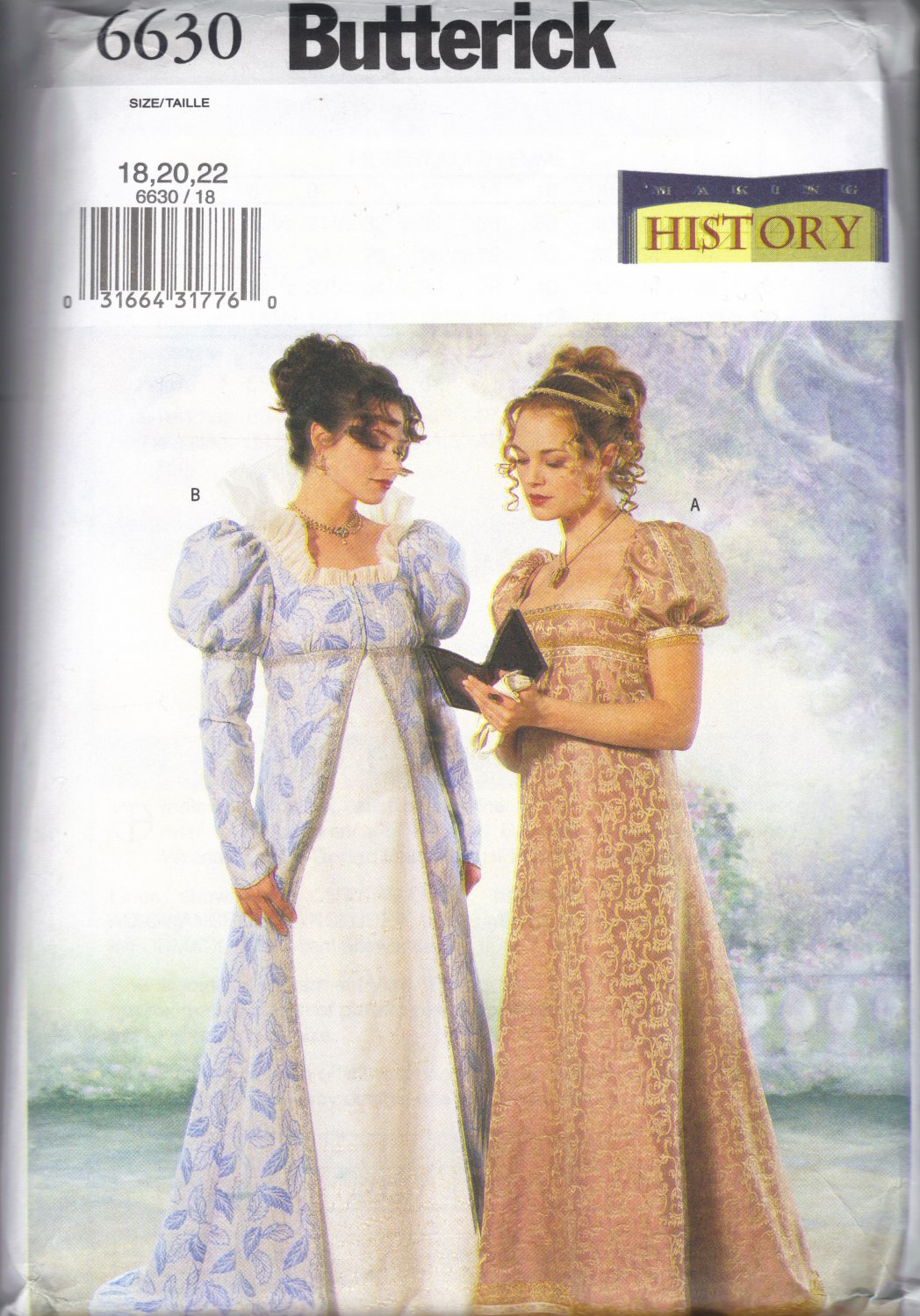 Regency Era Gown Pattern - Butterick 6630