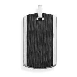 Stainless Steel and Black Epoxy Pendant