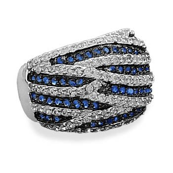 Blue and Clear CZ Ring