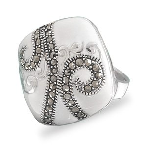 White Enamel Ring with Marcasite
