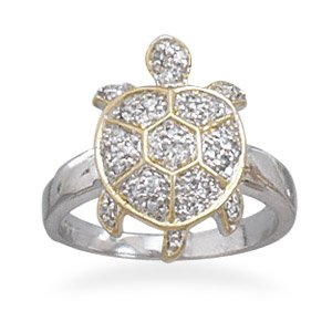 Two Tone with CZ Turtle Ring