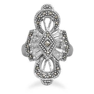 Marcasite and CZ Ring