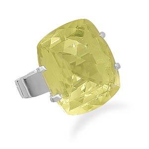 Large Faceted Lemon Quartz Ring