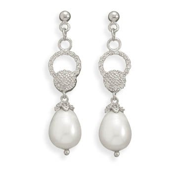 CZ and Freshwater Pearl Earrings