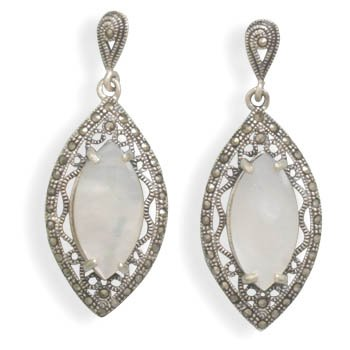 Marcasite and White Shell Earrings