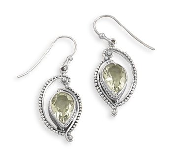 Green Amethyst French Wire Earrings
