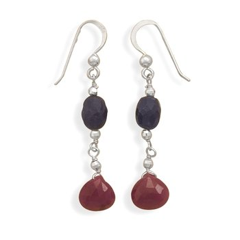 Sapphire and Ruby Drop Earrings