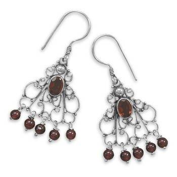 Drop Earrings with Garnet