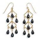 14 Kt Gold Plated Black Spinel Earrings