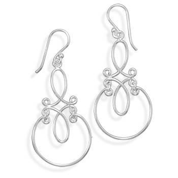 Scroll Design French Wire Earrings