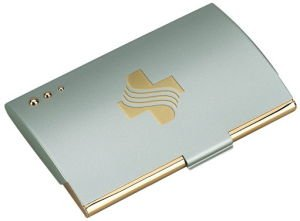 Matt Finish Card Case with Gold Accent