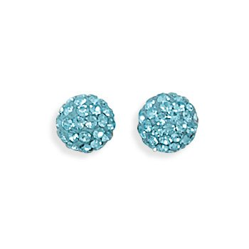 Light Blue Crystal Ball Earrings