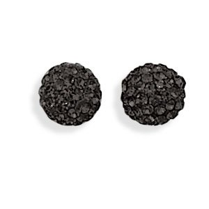 Black Crystal Ball Earrings
