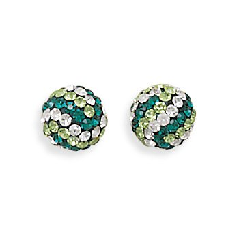 Green and White Crystal Ball Earrings