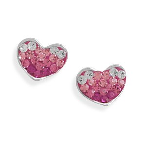 White and Pink Crystal Heart Earrings