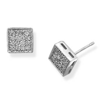 Square Pave CZ Earrings