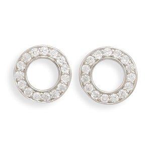 Open Circle CZ Post Earrings