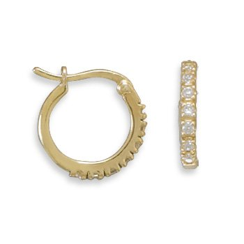 14 Kt Gold Plated CZ Hoops