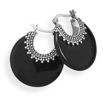 Oxidized Black Onyx Hoop Earrings