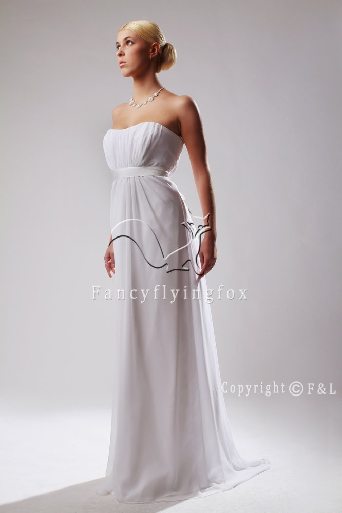 strapless empire gown with train maternity weddiing dress 8231