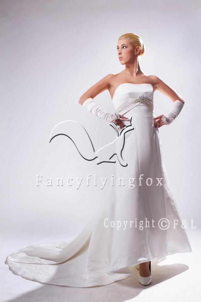 Strapless Simple Chapel train Wedding Dress 2013
