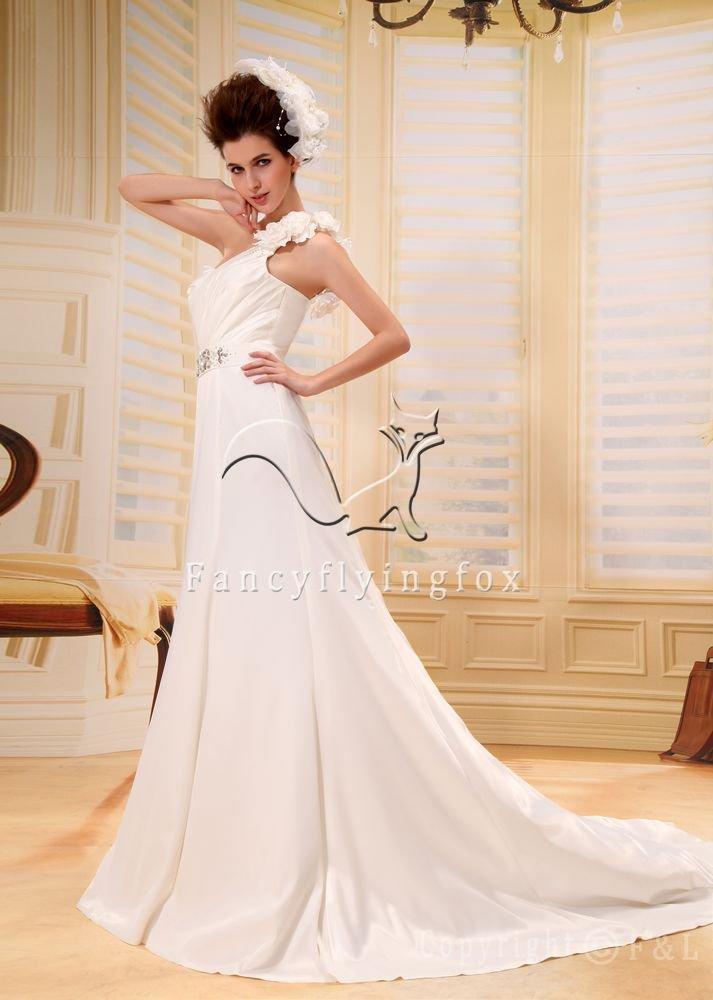 Elegant One Shoulder Western Wedding Gown PRO10